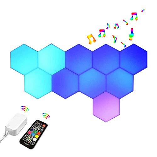 Hexagon LED-lampor med RF-fjärrkontroll, Smart Wall Modulära Kvantljuspaneler, Synkronisera med Musik, 16 Miljoner Färger Spelljus, för Sovrum, Bar, Spelinstallation (Color : 10pcs)