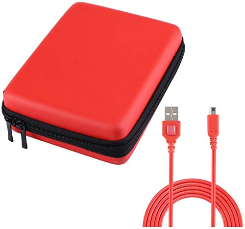 Exlene® Nintendo 2DS Hard EVA Carrying Case Cover Bag + 3M usb charging cable for Nintendo 2ds, Protective Travel Storage Cover pouch with 8 Game Cartridge Holders (Red)