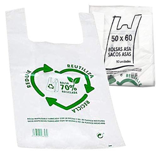 Various Bolsas de Plástico Tipo Camiseta Resistentes, Reutilizables y Recicladas Tamaño 50x60 cm 2 Kg - 90 uds Aprox. 70% Recicladas Cumple Normativa Aptas Uso Alimentario