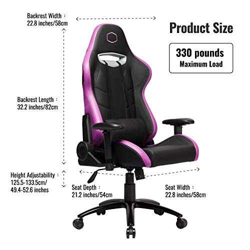Cooler Master Caliber R2 PC Gaming Racing Chair. Ergonomic High Back Office Chair, Seat Height and Armrest Adjustment, Recliner, High-Density Padding Headrest, and Lumbar Support - Purple