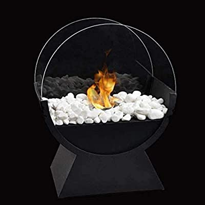 JHY Design Round Glass Tabletop Fire Bowl Pot 34cm Tall Portable Tabletop Fireplace–Clean-Burning Bio Ethanol Ventless Fireplace for Indoor Outdoor Patio Parties Events