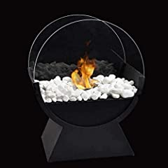 ROUND GLASS BIO ETHANOL VENTLESS FIREPLACE - Fueled by smokeless, odorless,clean burning Bio Ethanol (not included),this ventless real flame fireplace doesn't require a chimney, and is an excellent decorative, functional piece for any room of the hou...