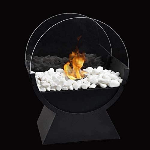 JHY Design runder Glas-Tisch-Feuerschale Topf 34 cm hoch Tragbarer Tisch-Kamin - sauber brennender Bio-Ethanol-Ventless-Kamin für Veranstaltungen im Innen- und Außenbereich