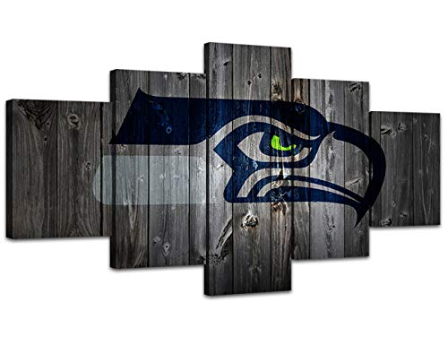 MIAUEN Canvas Art Seattle Seahawks Poster Living Room Wall Decor Pictures Sports Football Home Game Room Decoration Prints Framed Paintings Ready to Hang(60''Wx32''H)