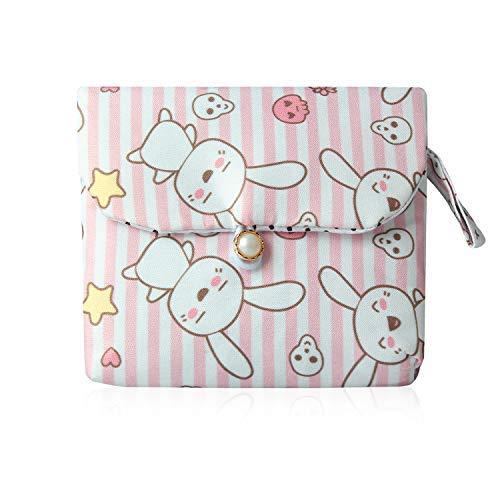 Tomedeks 1 pieza bolsa sanitaria linda de dibujos animados de tela de algodón servilleta bolsa de almacenamiento de gran capacidad bolsa de almacenamiento sanitario para damas (lindo estilo conejo, 13