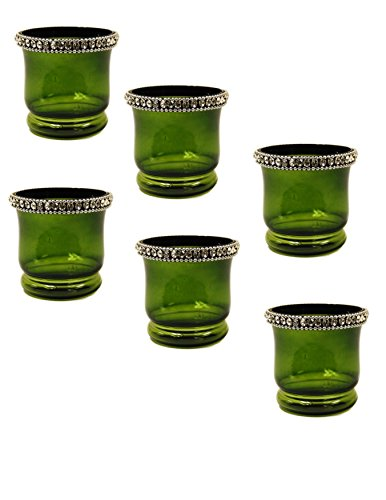 Crystal Tealite Holders Set of 6 Pcs. by Ima brass