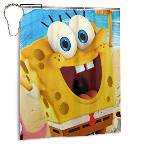 KANHAHA The Spongebob Duschvorhang Badezimmer Dekoration Wasserdicht Duschvorhänge mit 12 Kunststoffhaken 152,4 x 182,9 cm