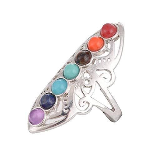 Bongles Natural Crystal Exaggerated Personality Ring Seven Chakras Pierced Ring 925 Silver Healing Hollow Stones Adjustable Thumb Reiki Gem Ring for Women