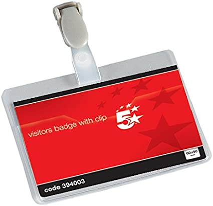 Pack 25 5 Star Office Name Badges Visitors Landscape with Plastic Clip 60x90mm
