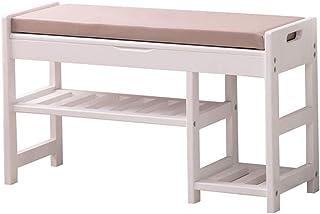 Banc de rangement pour chaussures Rangement pour étagères à chaussures en bois L'organisateur de banc d'entrée rembourré c...