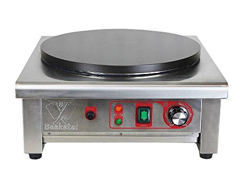 Beeketal \'BC40-1\' Gastro Crepes Maker mit Ø 400 mm antihaft Crepesplatte, 50-300 °C stufenlos einstellbar, Profi Crepiere im Edelstahl Gehäuse mit extra Schublade