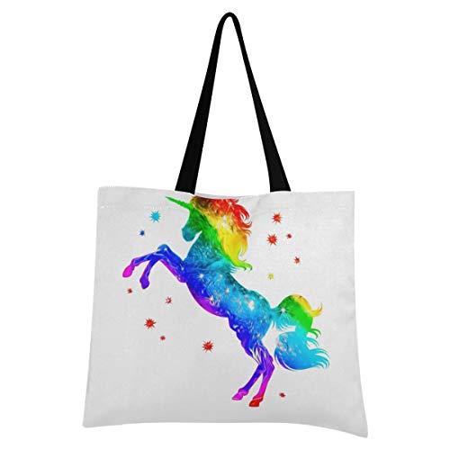 XIXIXIKO - Bolsa de lona ligera con diseño de unicornio, diseño de estrellas, multicolor y multicolor