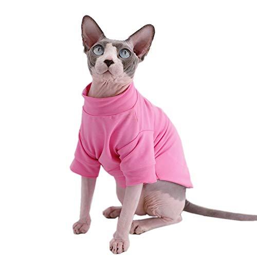 Sphynx Haustier-T-Shirts aus Baumwolle, ohne Haare, für Katzen und kleine Hunde, L (8.8-11 lbs), Neu-Rosa