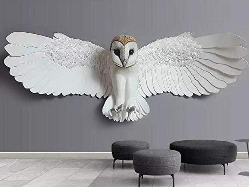 Fototapete 3D Effekt Tapete Geprägte Eule Tier Vliestapete 3D Wallpaper Moderne Wanddeko Wandbilder-250cmx175cm
