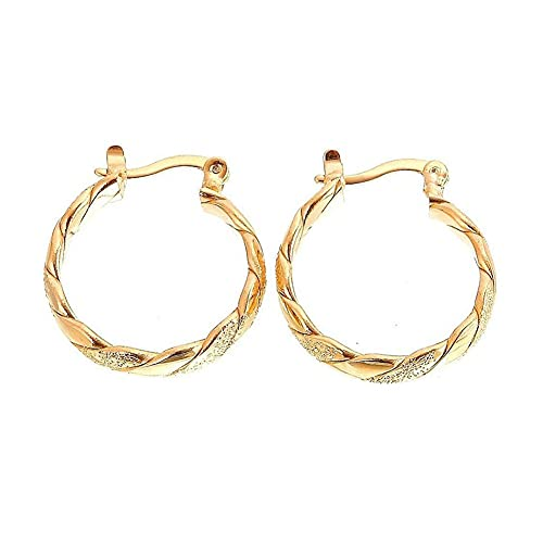 Gold Plated Hoops Earrings for Women Girls Elegant Small Twisted Rope Matte Yellow Gold Earrings Birthday Wedding Party Jewelry Gifts