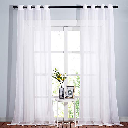 NICETOWN Sheer Window Curtain Panels - Solid White Panels / Drapes with Grommet Top (2-Pack, 54 Wide x 96 inch Long, White)