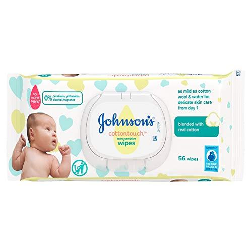 Johnson's Cottontouch - Toallitas muy delicadas, 56 unidades, con algodón real, pH equilibrado para pieles delicadas