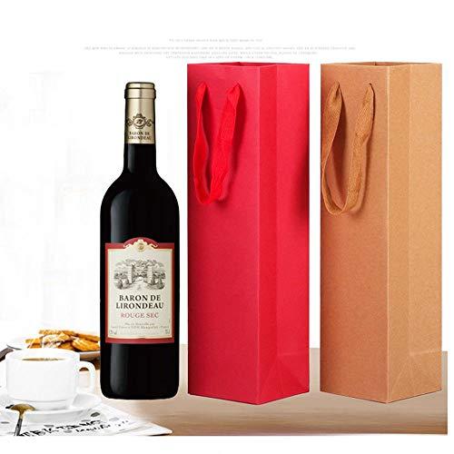 5 Piezas Bolsas de Regalo de Vino, Elegante y con Estilo Bolsas Botella, Bolsas de Regalo de Botella Hechas de Papel Adecuado para Vino espumoso y champán (9,5 * 9 * 35 cm)