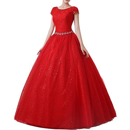 LaoZan Damen Hochzeitskleid Runde Ausschnitt Kurzarm Lange Spitzen Abendkleider Rot S