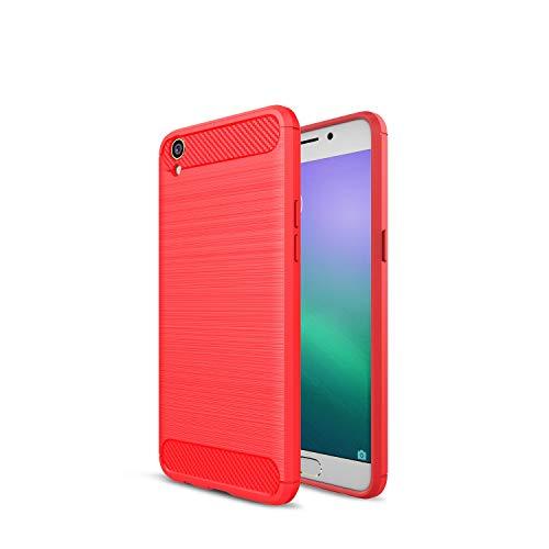 Kompatibel mit Oppo R9/F1 Plus R9 Plus Hülle Carbon Fiber Textur Tasche Schutzhülle Ultra Dünn Slim Silikon Soft Flexibel TPU Cover Cases Stoßdämpfung Handyhülle (R9 Plus, Rot)
