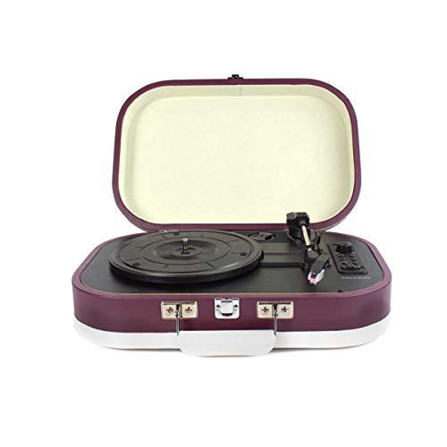 PRIXTON - Vintage Vinyl Turntable en MP3 muziekspeler via Bluetooth en USB, 2 Ingebouwde luidsprekers, Case Design, Kleur Paars / VC410
