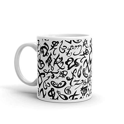 N\A Runas de Cazador de Sombras. Tazas de café clásicas de 11 oz, Mango en C y construcción de cerámica. Tazas de café de cerámica de 11 oz con asa en Forma de C, cómodas de sostener