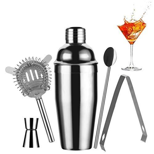 Cocktail Shaker Set - Cocktail Mixer, Cocktailset Aus Edelstahl - Inklusive Cocktailmixer Mit Integriertem Ausgusssieb, Barlöffel - Inklusive Cocktailrezepten,Barkeeper Set 750ml