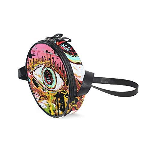 COOSUN Art Abstrakte Zusammensetzung von menschlichem Auge Runde Crossbody-Tasche Schultertasche Handtasche Handtasche Umhängetasche für Kinder Frauen