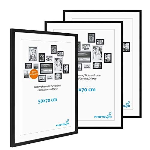 PHOTOLINI 3er Set Poster-Bilderrahmen 50x70 cm Modern Schwarz aus MDF mit Acrylglas/Posterrahmen/Wechselrahmen