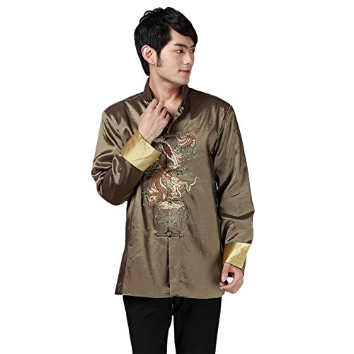 KINDOYO Hommes Soie Tang Costume Veste Stand-Collar À Manches Longues Dragon Motif Tai Chi Chemise Kung Fu Tops (Vert)