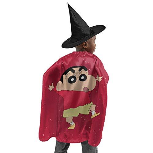 HYJUK Shin Chan Cartoon Anime 3D Disfraz de Halloween para nios Capa de Mago Sombrero de Bruja de Halloween Disfraz de Fiesta para nia y nio