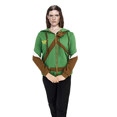 Game Cosplay Costume Hoodie Zip Women Coat for Zelda Tops Long Sleeve Jacket Causal Green S-L (S)