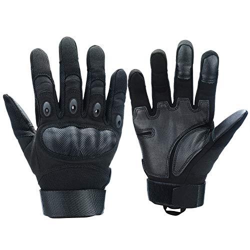 Xnuoyo Goma nudillo Duro Dedo Completo y Medio Dedo Guantes de Pantalla táctil para Motocicleta Ciclismo Caza Escalada Acampar (M, Negro)