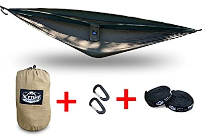 Portable Lightweight Nylon Camping Hammock - Includes Two 10' Tree Straps - Premium Lightweight Aluminum Carabiners - Attached Storage Bag - Great for Travel, Backpacking, Biking and the Beach!