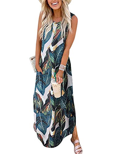 Women's Summer Maxi Dress Casual Loose Beach Long Tank Dress Split with Pockets A19shuye-M