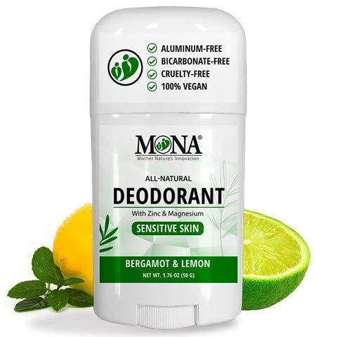 MONA BRANDS All Natural Deodorant for Sensitive Skin | Baking Soda & Aluminum free, with Magnesium & Zinc| For Men, Women & Teens| Plant-based, Vegan, Non-GMO, Gluten & Cruelty free | BERGAMOT & LEMON