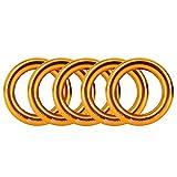 Newdoar Rappel Ring 25kN Gold Large O-Ring Cuerda Conector para Escalada en Roca Arborist Rescue Hamaca y Slackline (Paquete de 5