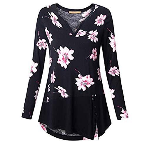 Forthery Womens Floral Tunic Shirts Long Sleeve V Neck Crew Neck Blouse Tops(Black,US Size 2XL = Tag 3XL)