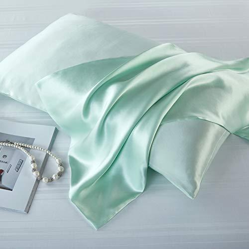 Taie d'oreiller en soie de mûrier naturelle, Soie, vert clair, Standard 50x75cm