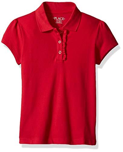 The Children's Place Big Girls' Long Sleeve Ruffle Polo Shirt, Ruby, 5T