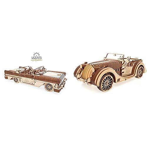 Ugears 70073 Traum Cabriolet Auto Zubehör, beige & VM-01 Roadster Auto-3D Holzkunst DYI – Modellbau Projekte für Erwachsene und Kinder-3D Technisches Modell Modellbausatz aus Holz, Einheitsgröße