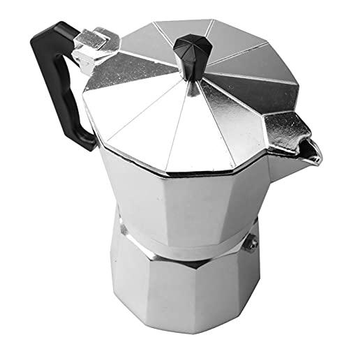 Ekspres do kawy aluminium Mocha Espresso filtr filtracyjny Drewniany Uchwyt Ekspres do kawy Moka Pot 1 Cup/ 3 kubek / 6 szklanki Płyta kuchenna maszyna do kawy (Color : Silver 300ml)