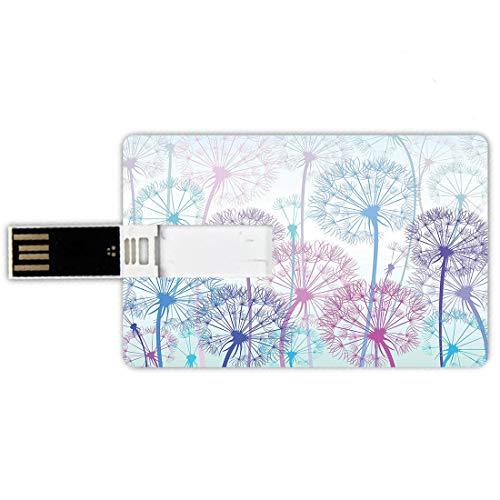 16GB Chiavette USB a forma di carta di credito Dente di leone Memory Card stile carta di credito Disposizione floreale astratta dell'acquerello con la natura di Ispirazioni di botanica,Brown rosso, Pe