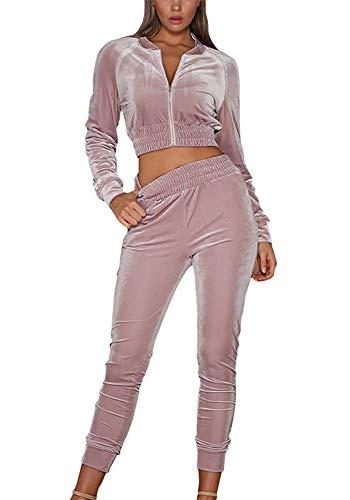 wenyujh Damen Bekleidungsset Sport Freizeit Pullover Hose Set Frühling 2 Teilig Samt Bauchweg Jacke Freizeithose Einfarbig (L, Rosa)