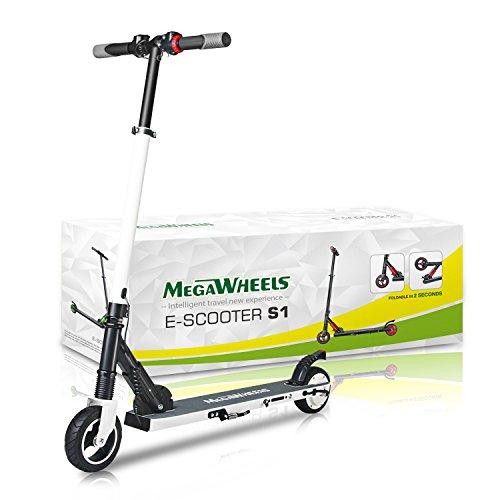 M MEGAWHEELS Monopattino Pieghevole Scooter Elettrico I-Bike da Città Pieghevole, velocità Massima 23km/h, Autonomia 15km per Adulti e Bambini (Bianca)