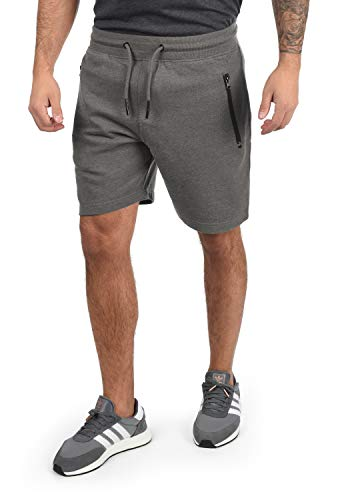 !Solid Taras Herren Sweatshorts Kurze Hose Jogginghose Mit Verschließbaren Eingriffstaschen Und Kordel Regular Fit, Größe:L, Farbe:Grey Melange (8236)