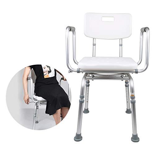 Taburete de ducha ligero con rotación de 360° para personas mayores, silla de ducha antideslizante con reposabrazos y banco de baño con respaldo, par