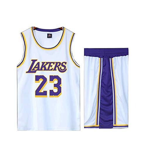 Basketball Trikot für Lebron Raymone James No.23 Laker Fans Basketball ärmellosen Anzug Kinder Erwachsene weiß blau Sportswear T-Shirt Weste Shorts Sweatshirt Jugend-White-S