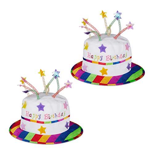 Relaxdays 2 x Happy Birthday Hut Torte, Geburtstagshut mit Kerzen, Partyhut Geburtstagstorte, Plüschhut Party, weiß & bunt