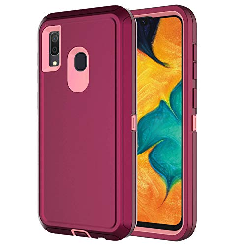 Hapitek A20 Case for Galaxy A20 Case A30 Heavy Duty Shockp Protective Tough 3 in 1 Rugged Case for Samsung Galaxy A20/30 (Purple Pink)